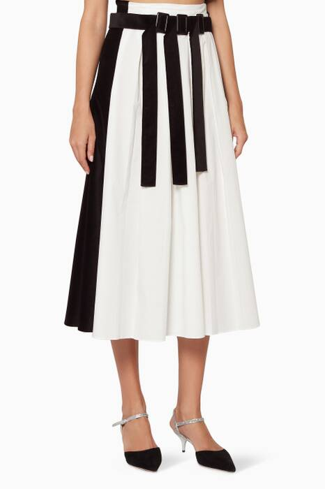 Black & White Pleated Buckle Skirt