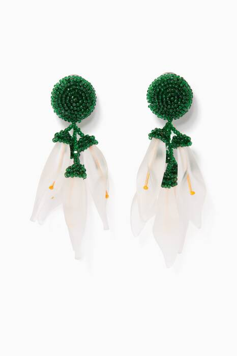 Green Lily Drop Earrings