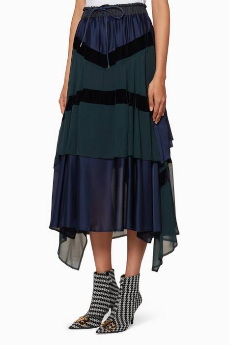 Navy Panelled Midi Skirt