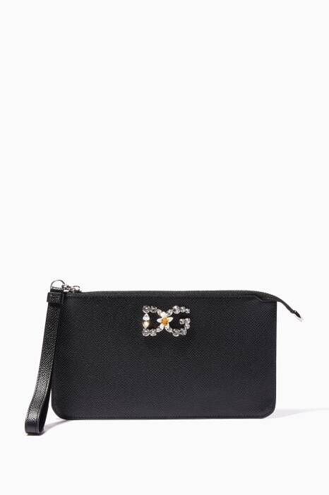 Black Embellished Logo Zip Pouch