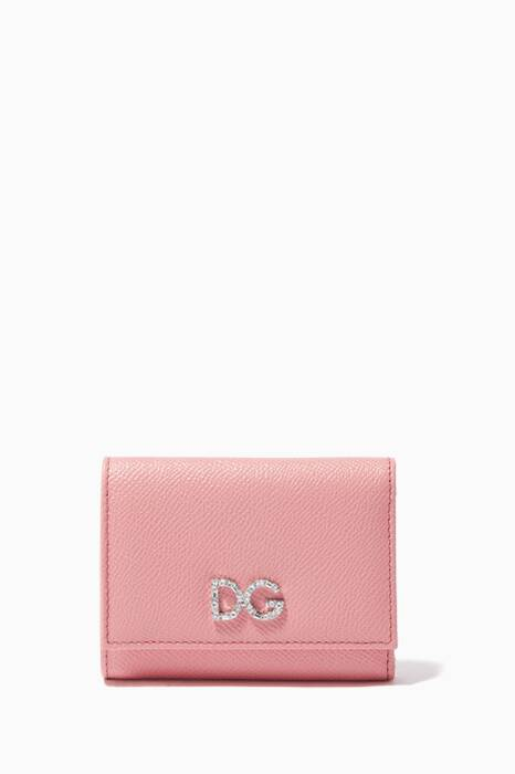 Light-Pink Crystal-Embellished Trifold Wallet