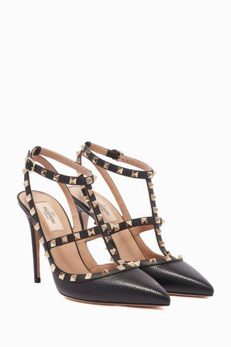 Black T-Bar Leather Rockstud Pumps