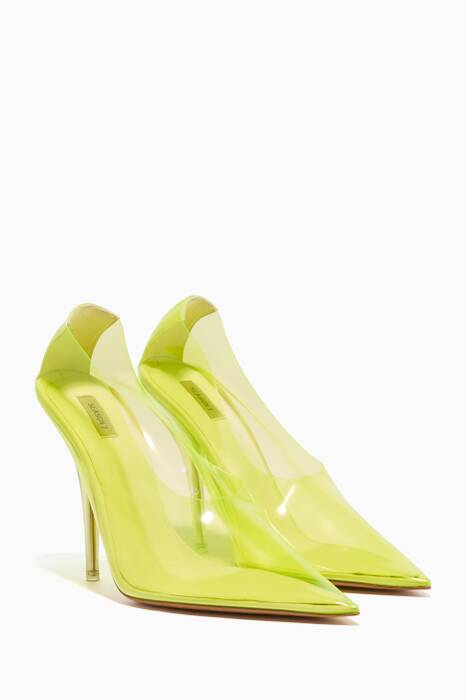 Neon-Yellow PVC Point-Toe Pumps