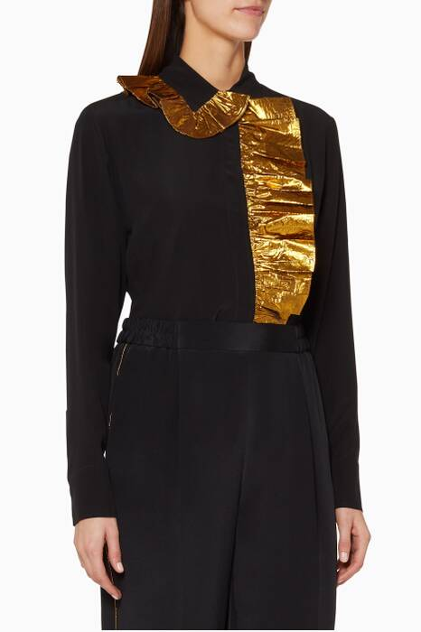 Black Silk Ruffle Shirt