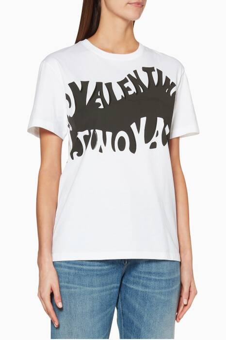 White & Black Waves Jersey T-Shirt