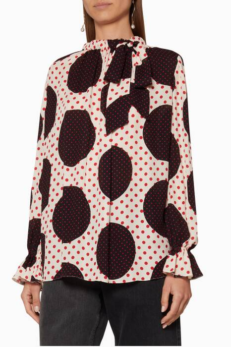 Ivory & Black Polka-Dot Blouse