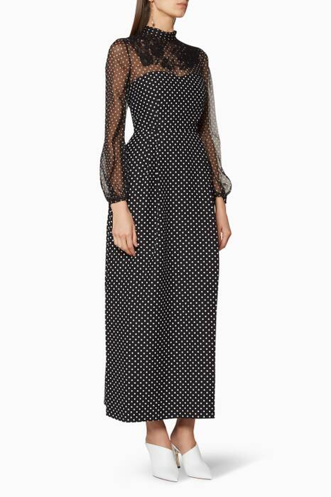 Black Polka-Dot Lace Dress