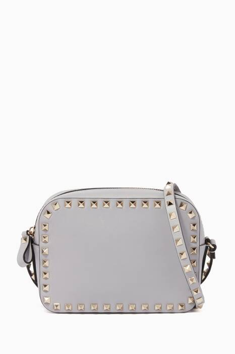Pastel-Grey Nappa Rockstud Camera Bag