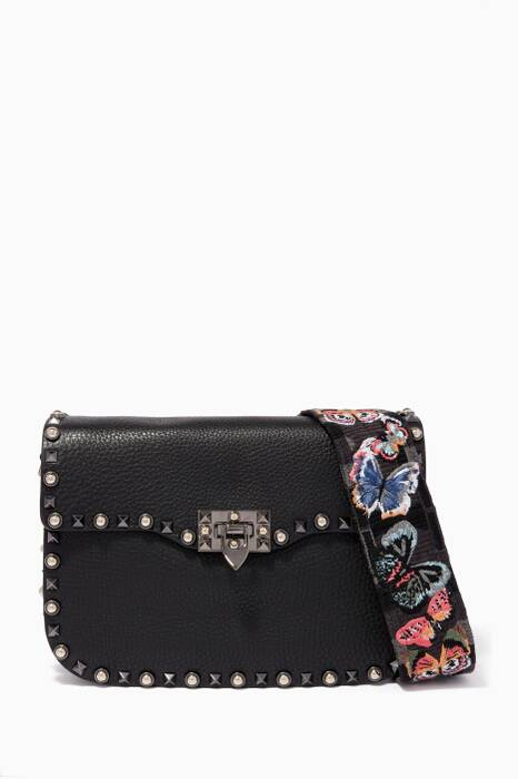 Black Medium Rockstud Rolling Shoulder Bag