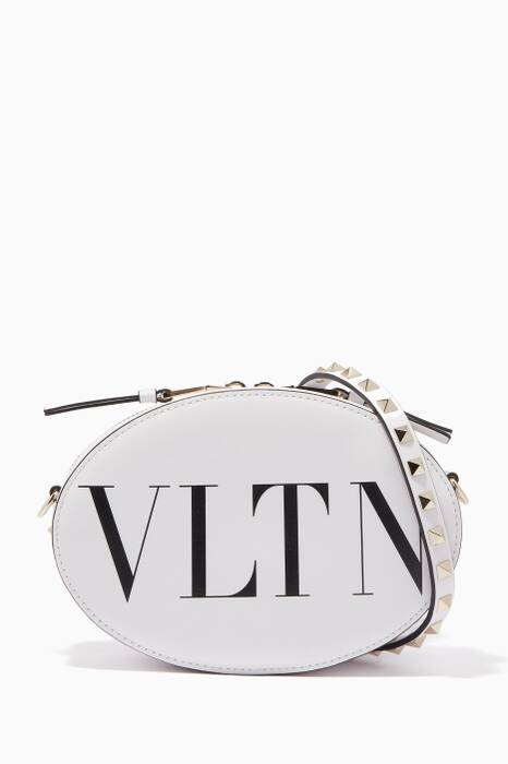 White Small VLTN Cross-Body Bag