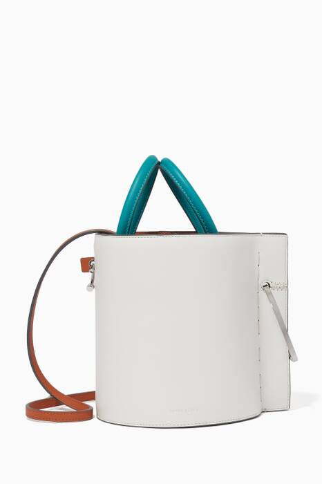White Bobbi Leather Bucket Bag