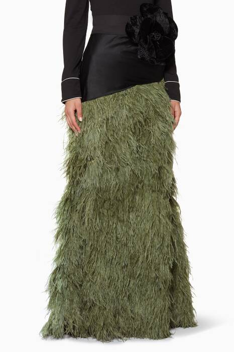 Moss-Green Pachamama Feather Skirt