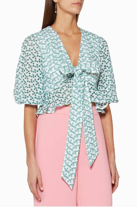 Ivory & Mint Blossom Wrap Top