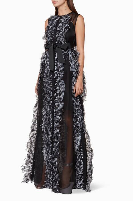 Black Beau Feather Gown