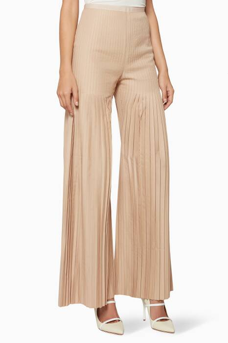Beige Mariella Pleated Pants