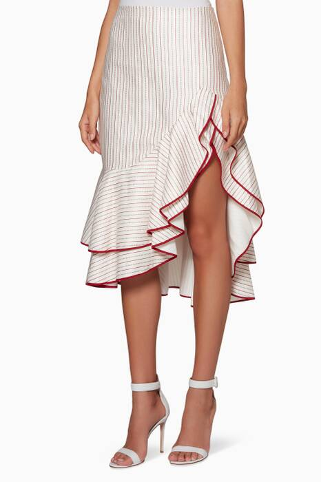White & Red Striped Garnet Midi Skirt