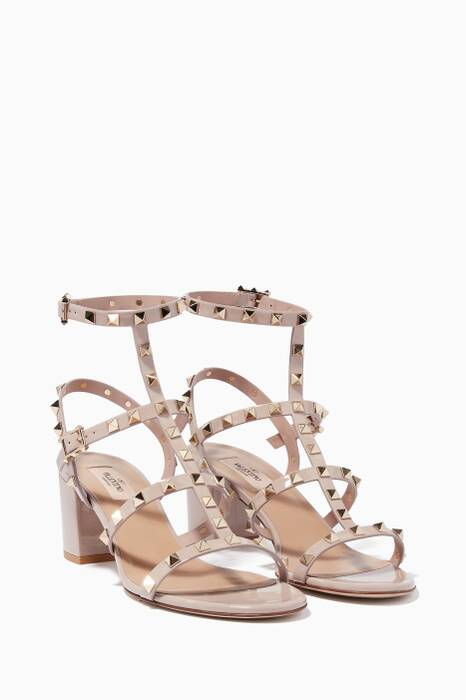 Light-Beige Patent Rockstud Sandals