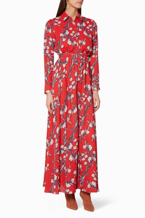 Red Floral-Print The Orianna Dress