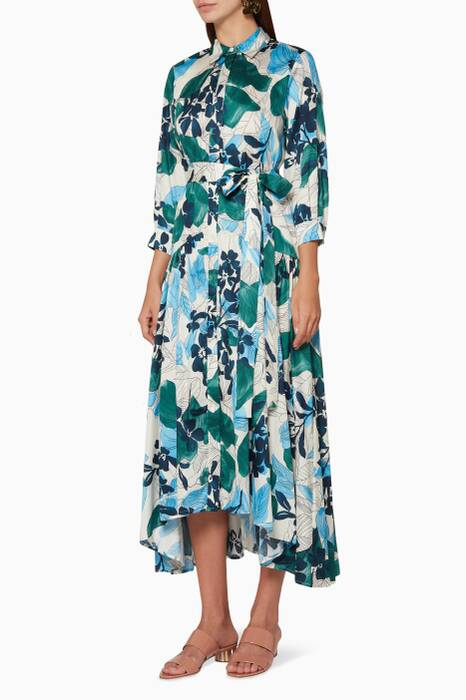 Blue Floral-Print Beatrice Shirt Dress