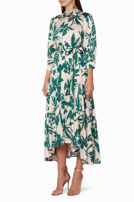 Blush & Green Floral-Print Beatrice Shirt Dress