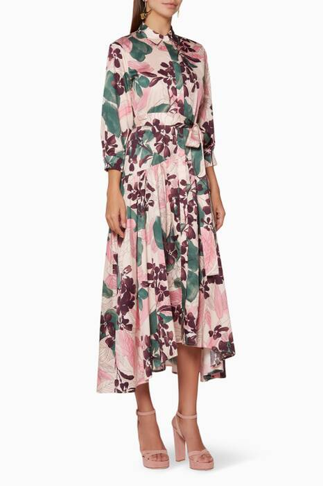 Pink Floral-Print Beatrice Shirt Dress