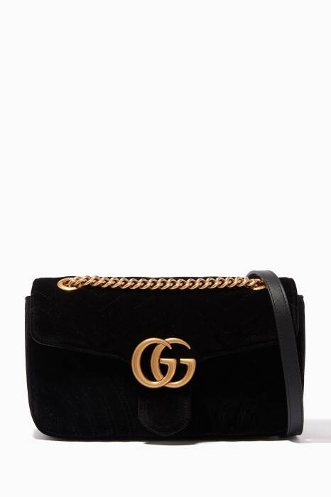 Black Small GG Marmont Velvet Shoulder Bag