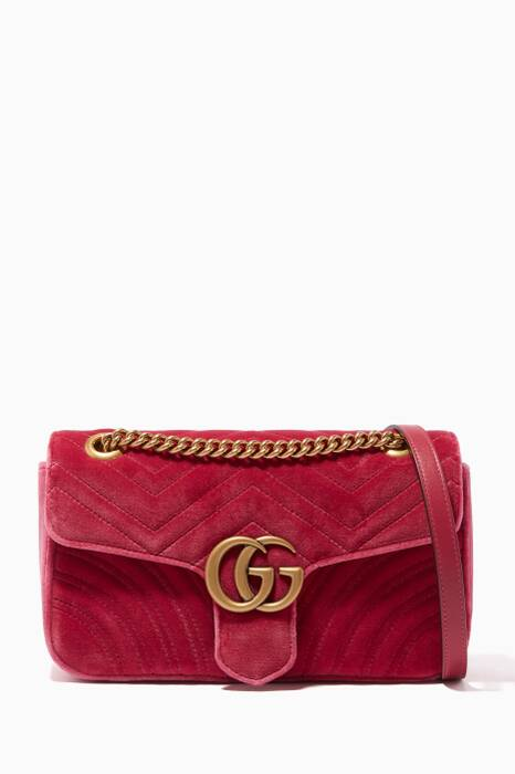 Pink Small GG Marmont Velvet Shoulder Bag