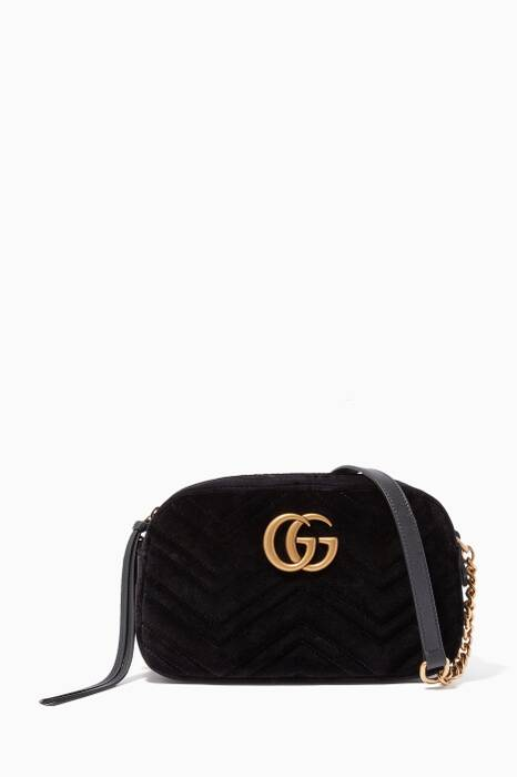 Black Velvet Small GG Marmont Shoulder Bag