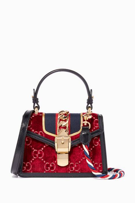 Red Mini Sylvie Embossed Velvet Cross-Body Bag