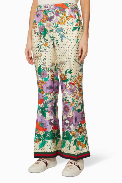 Multi-Colour Floral Print Pants