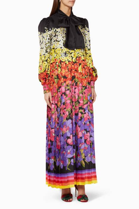 Multi-Coloured Floral-Degrade Dress
