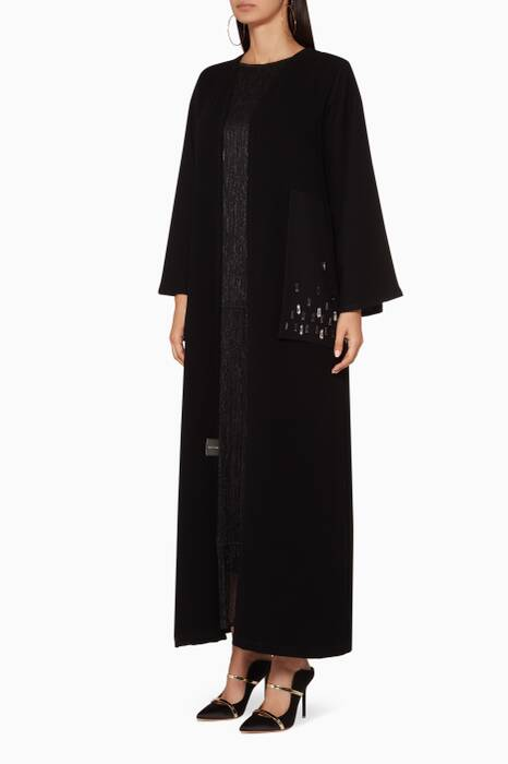 Black Embellished Side Abaya With Sheila