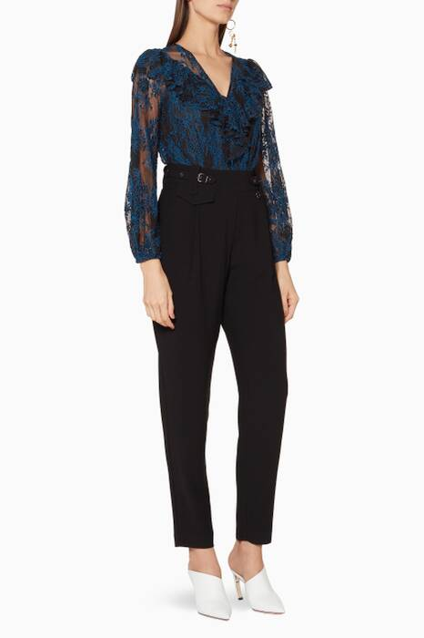 Black & Blue Lace Boss Lady Jumpsuit