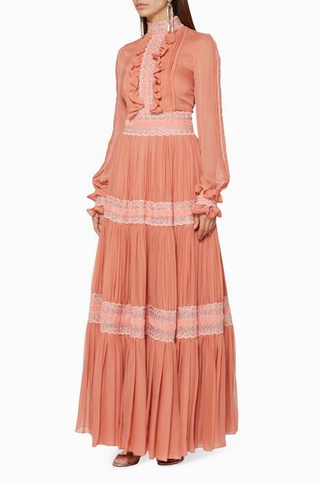 Terracotta Lace-Trimmed Tiered Gown