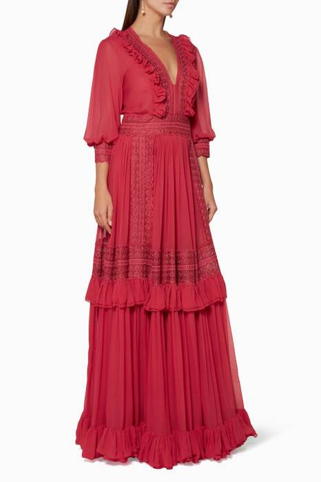 Raspberry-Red Ruffled Gown
