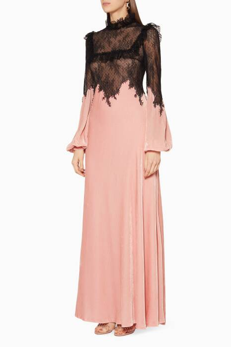 Black Lace & Peach Velvet Maxi Dress