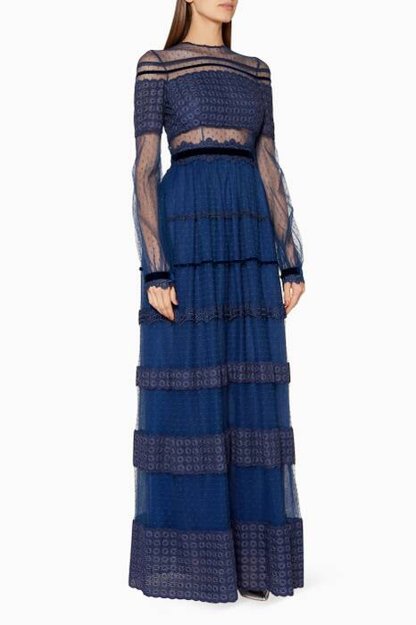 Blue Lace Panelled Maxi Dress