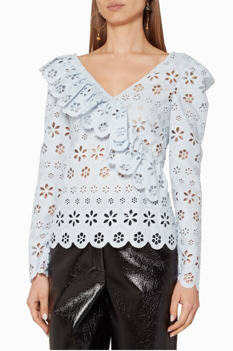 Light-Blue Floral Broderie Frill Top