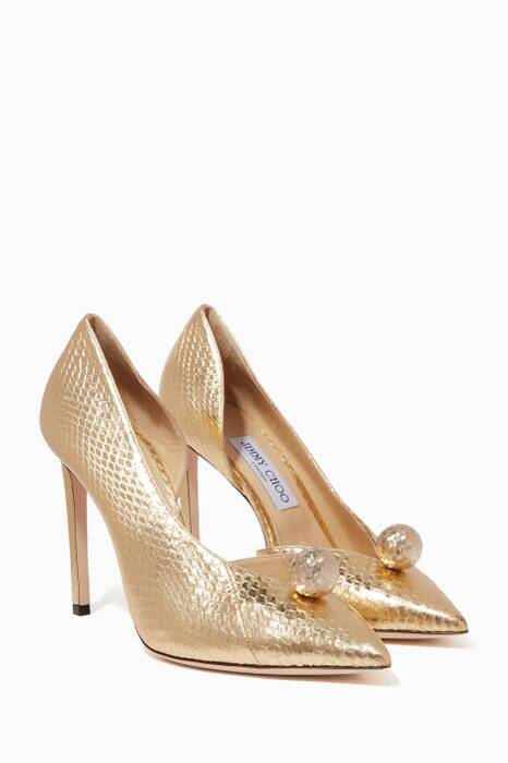 Metallic-Gold Sadira Elaphe Pumps