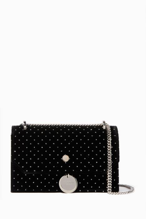 Black Glitter Mini Finley Velvet Cross-Body Bag