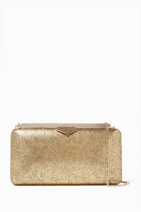 Gold Ellipse Crackled Leather Clutch