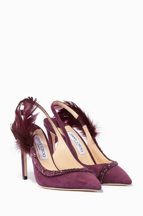 Grape Tacey Suede Feather-Embellished Pumps
