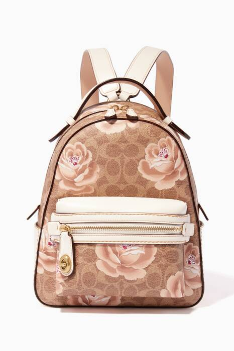 Tan & Chalk Rose Print Campus Backpack 23