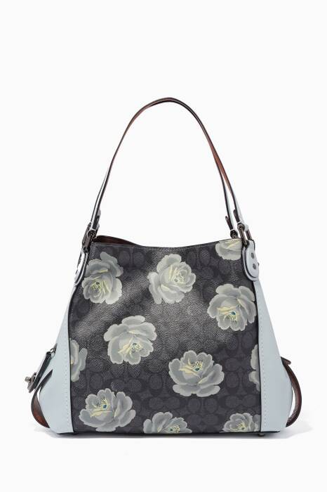 Charcoal-Sky Signature Rose-Print Edie 31 Shoulder Bag
