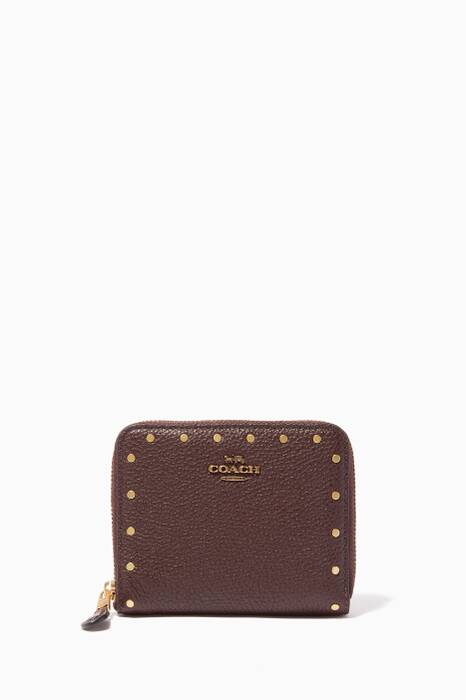 Oxblood Embellished Small Zip Wallet