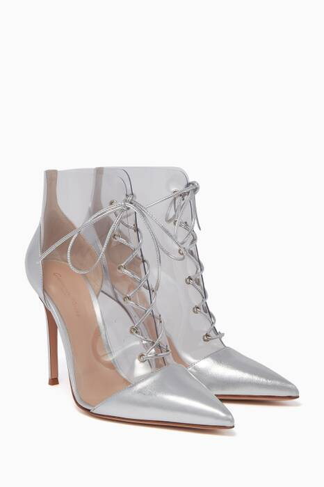Metallic-Silver Icon Lace-Up Booties