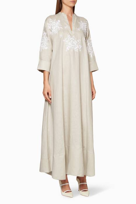 Grey Embroidered Short-Sleeve Kaftan