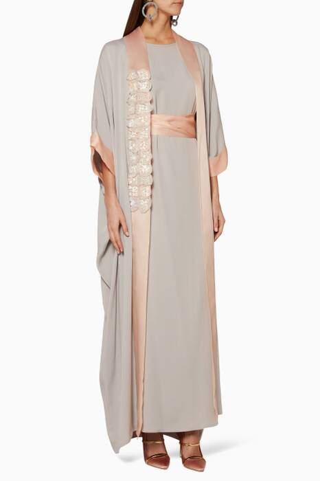 Grey & Blush Floral-Embellished Kaftan
