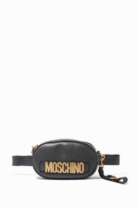 Black Leather Logo Belt Bag