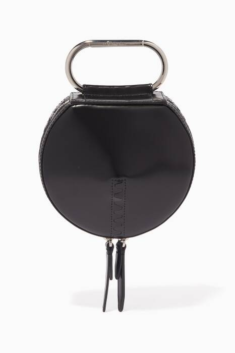Black Alix Circle Leather Clutch